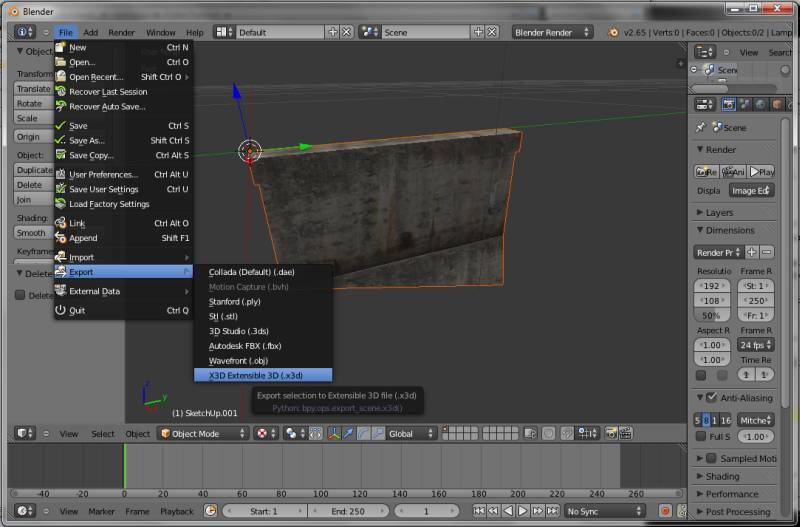 Export model as X3D file